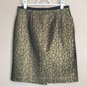 Ann Taylor LOFT Metallic Green Black Skirt Sz 4